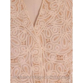 Amazing Vintage Blouse Cream Battenburg Tape Lace 1940s Med- Large