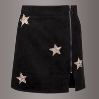 Black Faux Suede Mini Skirt with Star Embellishments