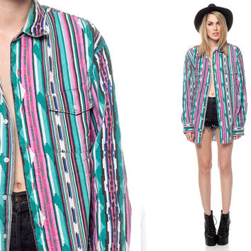 90s Shirt SOUTHWESTERN Print Bright Aztec OVERSIZED by ShopExile