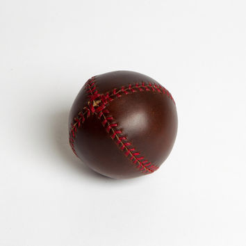 Handmade Baseball in Brown Horween Chromexcel Leather, Red Stitch
