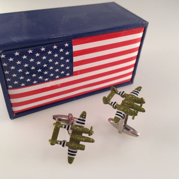 P-38 Lightning Cufflinks, Plane Cufflinks, Men's Cuff Links, Wedding Cuff Links, Father's Day, Camouflage