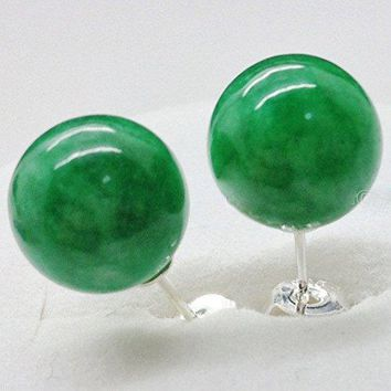 Meenanoom Genuine 10mm Natural Green Jadeite Jade 925 solid Silver Stud Earrings AAA