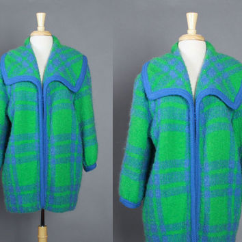 60s Bright PLAID MOHAIR Wool COAT / 1960s Green & Blue Boucle Textured Jacket