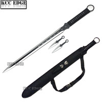"27"" Ninja Sword Machete Throwing Knife Full Tang Tactical Blade Black Katana"
