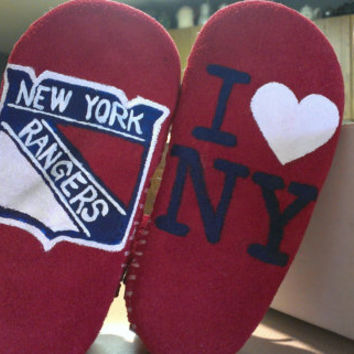 Custom Painted New York Rangers Baby Moccasins