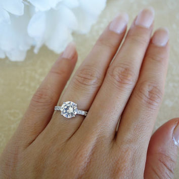 2.25 Carat Solitaire Engagement Ring With Accents, Man Made Diamond Simulants, Promise Ring, Wedding, Bridal, Sterling Silver, Anniversary