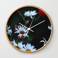 White & Red Wall Clock by Jessie Flori