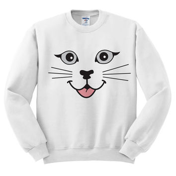 White Crewneck - Cat Face - Cat Sweater Jumper Pullover Kittens