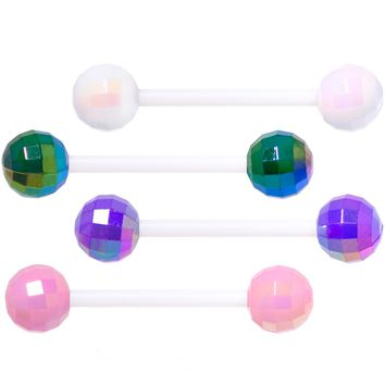 Green Purple Disco Ball Bioplast Barbell Tongue Ring Set of 4