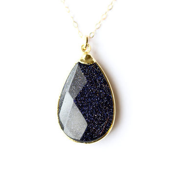 Midnight goldstone necklace - blue goldstone necklace - gold necklace - 24k gold bezel gemstone jewelry - large stone necklace
