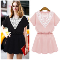 Short Sleeve with V-Cut Crochet Lace Patchwork Mini Dress