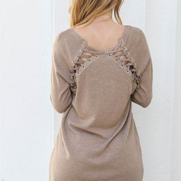 Keepin It Casual Brown Sweater Dress