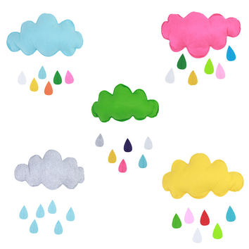 Kids Play Tent Decoration Tent Props Toy Raining Clouds Water Drop/Star Moon Baby Bed Room Hanging Decor Wall Stickers  IC838788