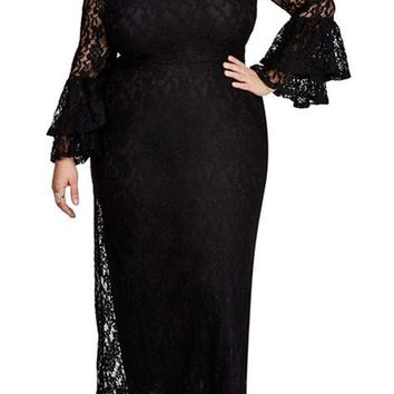 Bell Sleeve Plus Size Maxi Black Lace Dress