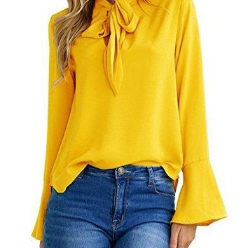 Women's V Neck Long Sleeve Bow Tie Flare Sleeve Work T-Shirt Blouse (Large, Yellow)