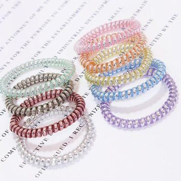 DKLW8 New Korean High Quality Candy Color Telephone Line Elastic Hair Bands Women Hair Accessories Girl Rubber Bands Simple Hair Ropes