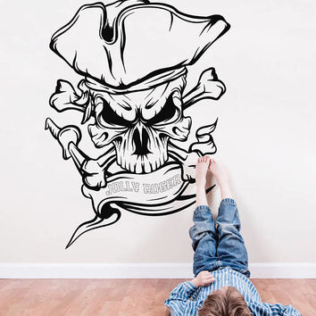 Pirate Skull Wall Decal, Pirate Skull Jolly Roger Wall Sticker, Pirate Decal Kids Room Decor, Pirate Wall Decal for Bedroom Art Mural se134
