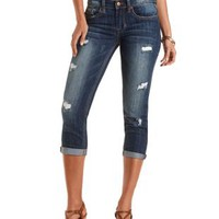 Cropped & Destroyed Boyfriend Jeans - Med Destroy Denim