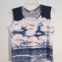UpCycled OOAK Vintage Clouds Landscape Crop Top Tank XS S M Navy Blue White Beach Ocean Boho Hippie Gypsy Club Kid Acid Grunge Festival Wear