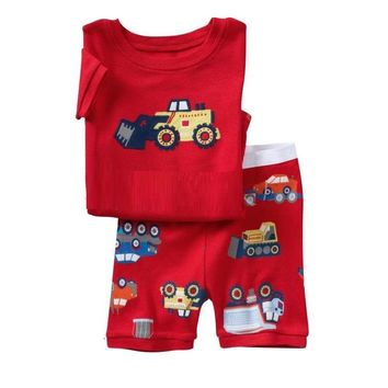 2017 Summer Boys Pajamas Sets Short Sleeve Children's Sleepwear 100% Cotton Kids Pijama Boy Pyjama Red Vehicle nightgown bottom
