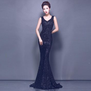 V-neck Mermaid Bling Zipper Backless Sequined Evening Dresses Floor Length Party Gown Evening Gown Prom Dresses