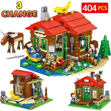 Technic Lakeside Cottage Building Blocks Compatible LegoINGLY Minecrafted Mini Action Sets DIY Bricks Figrues Children Toys