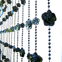 Gothic Black Roses Beaded Curtain