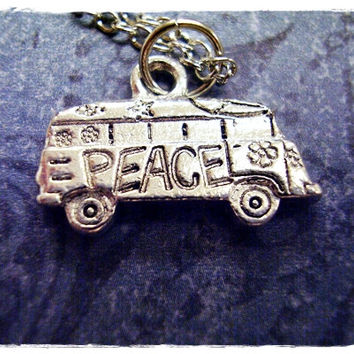 Silver Hippy Van Necklace - Silver Pewter Hippy Van Charm on a Delicate 18 Inch Silver Plated Cable Chain