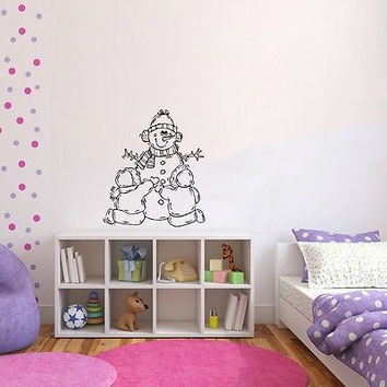 Wall Mural Vinyl Sticker Decal snowman kids carrot fun DA1696