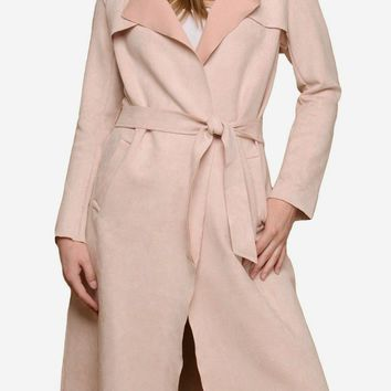 Faux Suede Trench in Blush