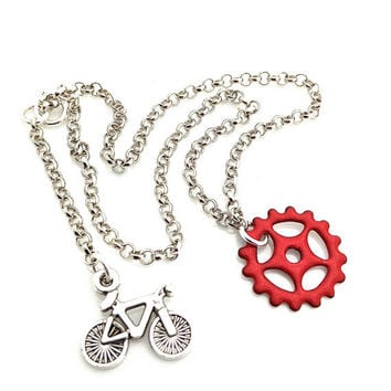 Bicycle Anklet, Bicycle Jewelry, Bike Ankle Bracelet, Rustic Jewelry, Fixed Gear, Silver Anklets for Women, Bicycle Gear, Red Gear Jewelry