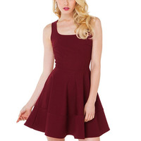 Wine Red Sleeveless Zipper-Back Skater Dress