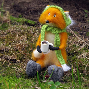 fox and coffee Needle felted fox Needle felted animal fox miniature fox toy Felted fox  felt fox red fox Felted toy fox animals coffee lover
