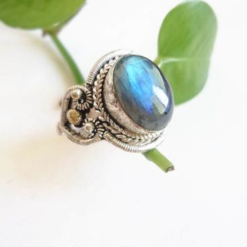 R087 Nepal Hand Jewelry Copper Inlaid Natural Labradorite Vintage Rings Open Big Size for Man