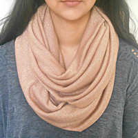 Rose Gold Knit Infinity Scarf Sparkly Hatchi Knit Circle Scarf Fashion Scarf