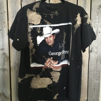 George Strait country distressed, bleached t shirt