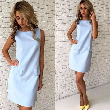 New Women Light Blue Round Neck Sleeveless Fashion Slim Mini Dress