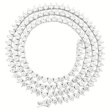 "3 Prong 4mm 18-30"" Sterling Silver Tennis Necklace"