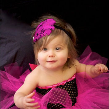 Hot Pink and Black Crochet tutu dress Newborn-  2T or chest size 21inches