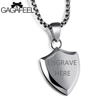 GAGAFFEL Personality  Engraving Shield Pendants Necklaces Masculine Men Jewelry 316L Stainless Steel Hiphop/Rock Accessories