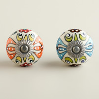 Embossed Floral Ceramic Knobs, Set of 2 - World Market