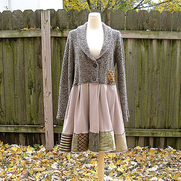 OOAK Romantic Wool Woodland Lagenlook Full Eco Upcycled Reconstructed Artsy Bohemian Chic Sweater Jacket L/XL
