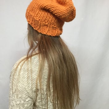 Knit Slouchy Hat Beanie Fall Orange Tangerine Warm And Cozy