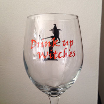 Drink up witches wine glass Halloween stemless wine glass funny glass