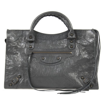 Classic City Bag   Fossil Gray with Rustic Brass Hardware   Medium