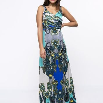 Streetstyle  Casual Sweet Heart Paisley Pleated Bodice Maxi Dress