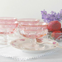 Indiana Glass Kings Crown Thumb Print Cranberry Flashed Sherbet Glasses, Set of 4, Pink Flashed, Tea Parties, Dessert Bowls, Stemware