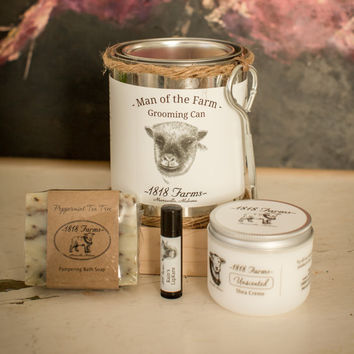 Man of the Farm Grooming Can - 1818 Farms Peppermint Tea Tree - Unscented Shea Creme - Lip Care - All Natural Gift for Men - Men's Gift