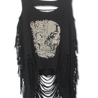Casual Skull Print Scoop Neck Ripped Top