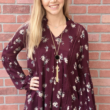 Falling Into Florals Tunic- Burgundy